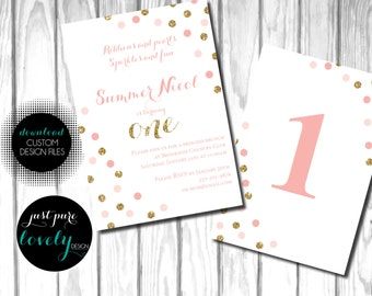 Pink & Gold Confetti Dot First Birthday Invitation | Printable | Ribbons and Pearls | Sparkles and Fun |