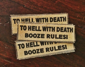 Booze Rules Handmade Canvas Patch