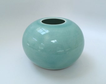 Round Blue Celadon Vase