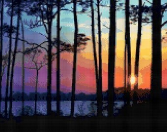 Forest Twilight Sunset Cross Stitch pattern PDF - Instant Download!