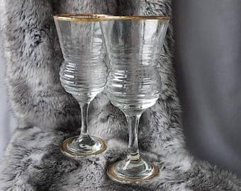Two Eamon Glass Wine Glasses in Original Box, Made in Ireland, Red or White Wine, Collectors Fine Table Glasses, Gold Rims Vintage Glasses