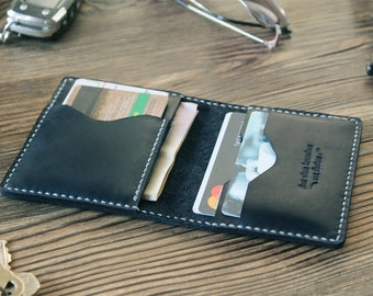 Boyfriend gift Leather card holder Credit card wallet for him Gift for husband Card case Minimalist wallet Black wallet Thin wallet mens