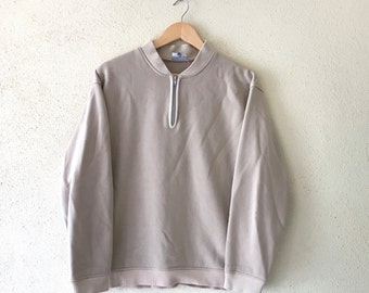 Rare!Vintage 90's QUIKSILVER SURFING Sweatshirt Half Zipper Pullover Jumper Small Logo Spell Out Hip Hop swag brown colour medium size