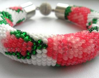 White bracele Bracelet crochet Bracelet with roses Summer bracelet Beadwork bracelet gift for women Ukrainian embroidery Women's Bracelet