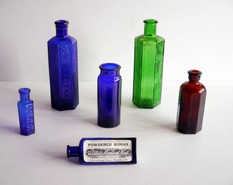 Vintage Medicine Bottles - Blue, Green and Amber