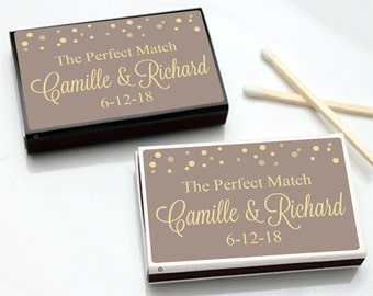 50 pcs The Perfect Match with Dots Personalized Matchboxes with  (MIC-FJM54645-8)