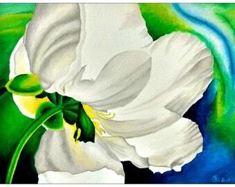 Gemälde »Weiße Blume« (Öl auf Leinwand, 40,0x30,0 cm)