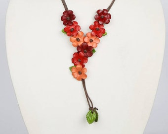 Orange Leather Flower Necklace,Green Leather Necklace, Leather Flower Necklace, Red Necklace,