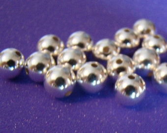 Sterling Silver .925 Satin Seamless 6mm Round Beads Rounds Qty 20