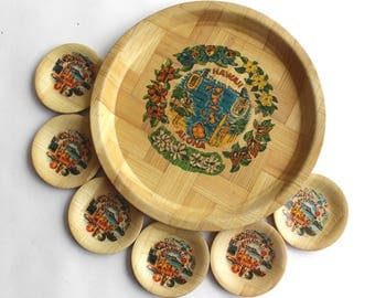 Vintage Bamboo Tray and 6 Coasters from Hawaii