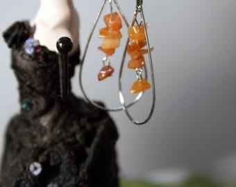 tumbled carnelian stones earrings