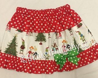 Boutique Grinch Skirt , Ruffles, Girls