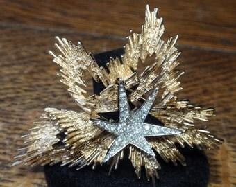 Trafari Star and Rhinestone Brooch