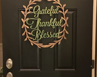 Wood thanksgiving blessings door or wall sign