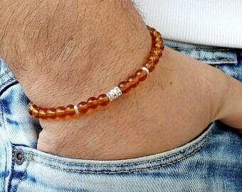 Mens Bracelet Men Bracelete bracelet perle homme Beaded Men Bracelet Men Bracelet Men's Beaded Bracelet Men's Bracelets Citrine 6mm