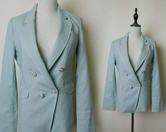 Light Mint Green Vintage Women Blazer Suit Pocket Style 1980s Fashion