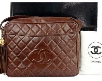 Vintage Chanel Handbag, Vintage Chanel Bag, Vintage Chanel Purse, Quilted Brown Leather, Chanel Logo, Chanel Tassel Bag, CC Logo