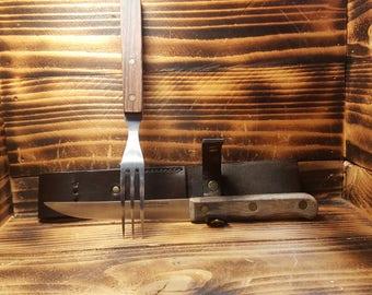 Bison Brown Leather Picnic Knife Set