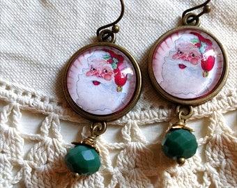 Retro Santa Christmas Earrings with Green Bead