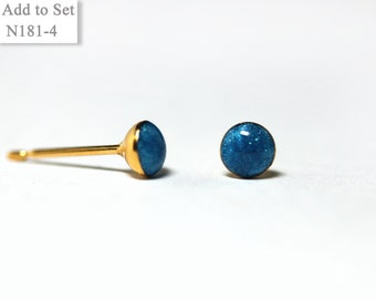 4mm Black Blue Ocean Earrings Mini Tiny Glossy - Jewelry Stainless Steel Gold Plated Posts plus High Quality Epoxy Resin -  N181-4