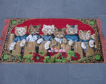 Cats family illustrated wall hanging rug,41 x 20 inches
