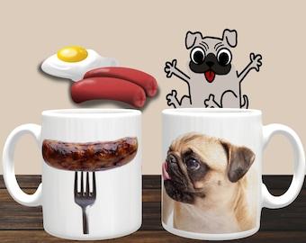 Funny Mug 'Hungry Pug Mug' Cute Dog, Coffee Mug, Coffee Cup, Ceramic Mug