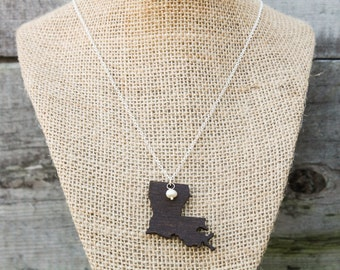 Louisiana, Louisiana State Necklace, Wooden State Necklace, Louisiana Jewelry,  Personalized Gift, Going Away Gift