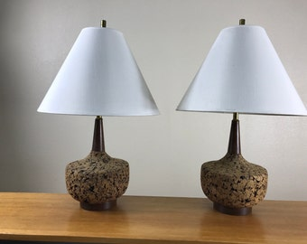 Pair of mid century working cork lamps
