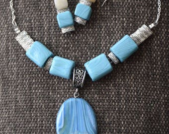 OCEAN-Polymer Clay Fashion Jewelry, Wearable Art, Aqua blue tones