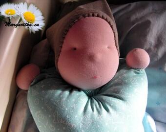 Cute & soft, handmade Waldorf baby pillow doll, bagdoll, boy doll, wool doll, cotton doll, natural materials doll, cuddle doll, waldorfpuppe