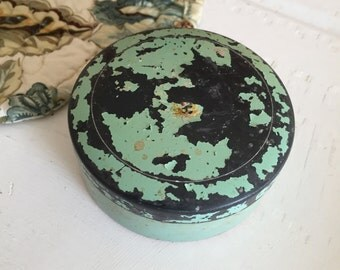 Chippy Blue Paint Metal Powder Box, Round Powder Box, Antique Powder Box, Vintage Powder Box, Girly Vanity, Rocker Retro, Industrial Vintage