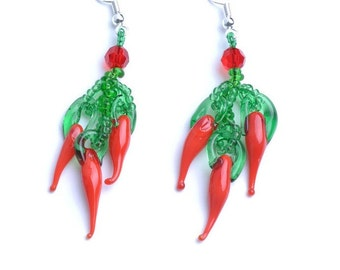 Red hot chilly peppers earrings, Peppers Beadwork Earrings, Lampwork Glass sterling silver earrings, Peppers jewellery Romantic gift for her