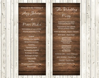 Country Wedding Program Template, Rustic Wood Wedding Template, Editable text, Instant download, code - 039