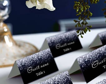 Black and Silver Glitter Wedding PlaceCard, Place Cards, DIY Place Card Printable, code-024