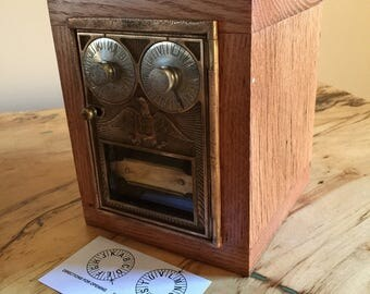 Reclaimed Oak Barnwood - Corbin Double Dial Post Office Door Safe/Bank