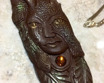 Horned god forest spirit pagan pendant