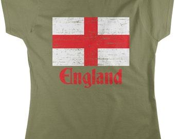 Flag of England, St George's Cross, English Women's T-shirt, NOFO_00036