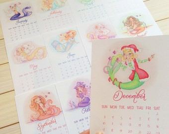 2017 Calendar, mermaids, wall or desk, small, 5''x7'', gift