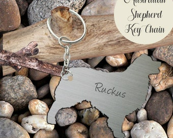 ON SALE Australian Shepherd Key-chain Personalized Customized - Hand-cut Metal, Aussie Accessories, Aussie Lover
