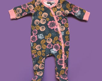 One-Piece Footie Pajamas, baby onesie pajamas, baby shower gift, baby pajamas, baby hospital outfit, take home baby outfit
