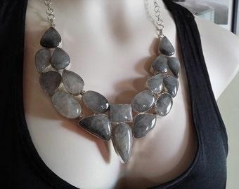 Handmade Tourmalinated Quartz Sterling Silver Necklace