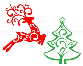 Reindeer and Christmas Tree SVG cut file - svg, studio3, dxf, eps - Santa Flourish Swirly Reindeer Cutting Files for Cricut, Silhouette