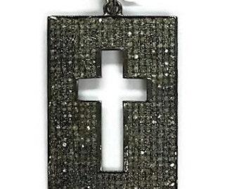 Pave diamond cross , Pave diamond Tag , Diamond Pendant , Diamond Cross , Diamond cross charm
