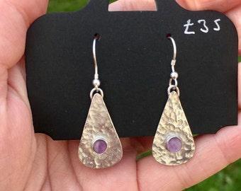 Handmade Textured lavender Amethyst earrings
