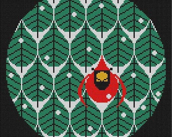 Coniferous Cardinal Needlepoint Pattern