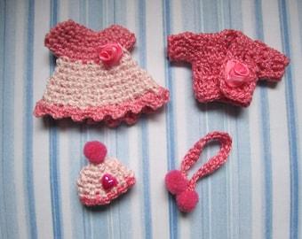 Dress miniature set baby 4 parts scale 1:12