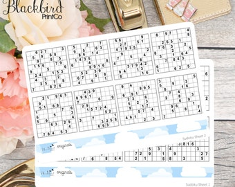Sudoku Puzzles - Planner Stickers for Erin Condren / Happy Planner [DR0015]