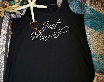 Just Married Tank, Rhinestone Just Married Tank, Rhinestone Just Married Flowy Tank,Honeymoon Tank, Newlywed Tank, Just Married Bling -FG01