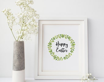 Happy Easter watercolor wreath, 5x7 and 8x10 Printable Wall Art