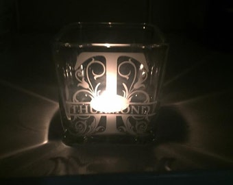 Custom/personalized etched glass votive candle holder with split monogram